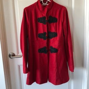Red and Black Long Pea Coat
